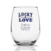 Personalized Stemless Wine Glasses 9 Oz - Lucky In Love