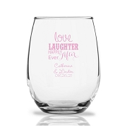 Love Laughter & Happily Ever After Personalized 9 oz Stemless Wine Glass