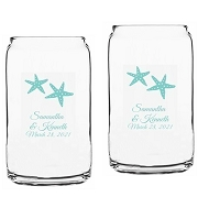 Starfish Beach Theme Beer Can Glasses