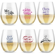 Wedding Stemless Wedding Wine Glasses (9 oz or 15 oz)