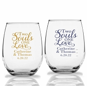 Two Souls One Love Personalized Stemless Wine Glasses (9 oz or 15 oz)
