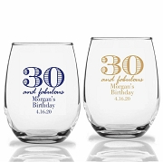 30 and Fabulous Personalized Stemless Wine Glass (9 oz or 15 oz)