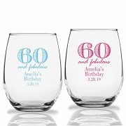 60 and Fabulous Personalized Stemless Wine Glass (9 oz or 15 oz)