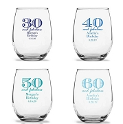 Milestone Birthday Stemless Wine Glasses (9 oz or 15 oz)