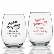 Aged To Perfection Personalized Stemless Wine Glasses (9 oz or 15 oz)