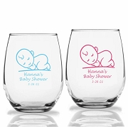 Sleeping Baby Personalized Stemless Wine Glasses (9 oz or 15 oz)