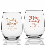 A Baby Is Brewing Personalized Stemless Wine Glasses (9 oz or 15 oz)