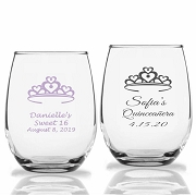 Heart Crown Personalized Stemless Wine Glass (9 oz or 15 oz)