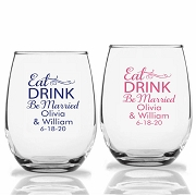 Eat Drink Be Married Personalized Stemless Wine Glasses (9 oz or 15 oz)