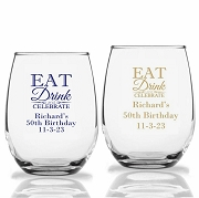 Eat Drink Celebrate Personalized Stemless Wine Glass (9 oz or 15 oz)