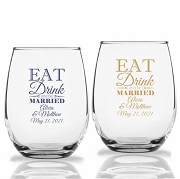 Eat Drink and be Married Personalized Stemless Wine Glass (9 oz or 15 oz)
