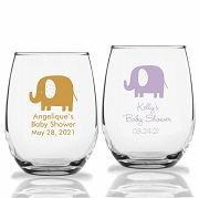 Baby Elephant Personalized Stemless Wine Glasses (9 oz or 15 oz)