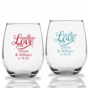 Endless Love Personalized Stemless Wine Glasses (9 oz or 15 oz)