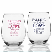 Falling In Love Personalized Stemless Wine Glasses (9 oz or 15 oz)