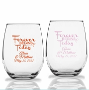 Forever Begins Today Personalized Stemless Wine Glasses (9 oz or 15 oz)