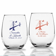 San Francisco Golden Gate Bridge Personalized Stemless Wine Glasses (9 oz or 15 oz)
