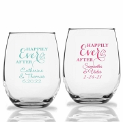 Happily Ever After Personalized Stemless Wine Glasses (9 oz or 15 oz)