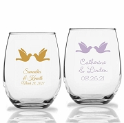 Kissing Doves Personalized Stemless Wine Glasses (9 oz or 15 oz)