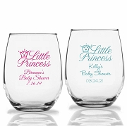 Little Princess Personalized Stemless Wine Glasses (9 oz or 15 oz)