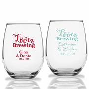 Love Is Brewing Personalized Stemless Wine Glasses  (9 oz or 15 oz)