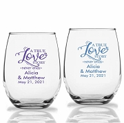A True Love Story Never Ends Personalized Stemless Wine Glasses (9 oz or 15 oz)