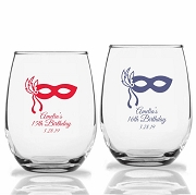 Masquerade Mask Personalized Stemless Wine Glass (9 oz or 15 oz)