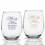Mr. And Mrs. Personalized Stemless Wine Glasses (9 oz or 15 oz)