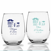 Mr and Mrs Mustache Lip Personalized Stemless Wine Glasses (9 oz or 15 oz)