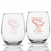 Our Love Is One Of a Kind Personalized Stemless Wine Glasses (9 oz or 15 oz)