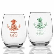 Palm Beach Personalized Stemless Wine Glass (9 oz or 15 oz)