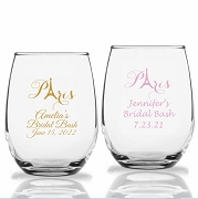 Paris Eiffel Tower Personalized Stemless Wine Glasses (9 oz or 15 oz)