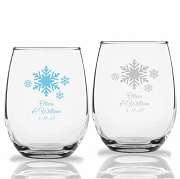 Snowflakes Winter Wonderland Personalized Stemless Wine Glasses (9 oz or 15 oz)