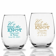 We Tied The Knot Personalized Stemless Wine Glasses (9 oz or 15 oz)