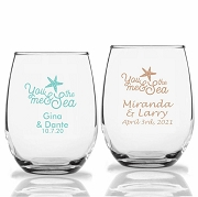You Me & The Sea Personalized Stemless Wine Glasses (9 oz or 15 oz)