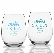Sweet 16 Tiara Personalized Stemless Wine Glasses (9 oz or 15 oz)