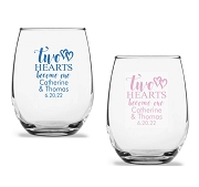 Two Hearts Become One Personalized Stemless Wine Glasses (9 oz or 15 oz)