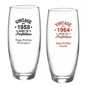 Vintage Aged To Perfection  Personalized Stemless Champagne Glasses (9 oz)
