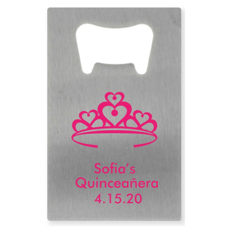 Heart Crown Personalized Credit Card Bottle Opener