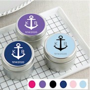 Personalized Travel Tin Candle Favors - Monogram Nautical Anchor