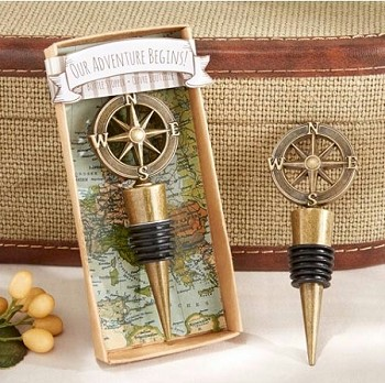 """Our Adventure Begins"" Wine Bottle Stopper - Compass Design"