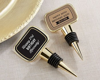 Personalized Gold Bottle Stopper - Birthday Anniversary