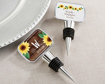 Personalized Silver Bottle Stopper with Sunflower Design