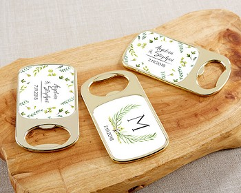 Personalized Gold Bottle Opener - Botanical Garden