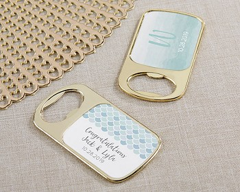 Personalized Gold Bottle Opener - Seaside Escape