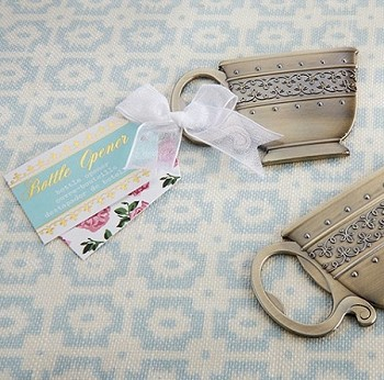 Tea Time Whimsy Antique Gold Teacup Bottle Opener