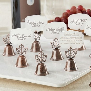 Fall Leaf Kissing Bell Place Card Holder (set of 24)