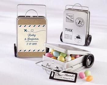Personalized Mini Suitcase Favor Tins (Set of 12) - Travel and Adventure