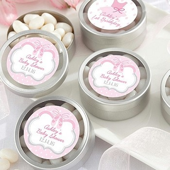 Silver Round Baby Shower Mint Tins (set of 12) - Ballet Slippers