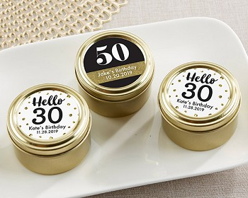 Personalized Gold Round Candy Tin - Birthday & Anniversary (Set of 12)