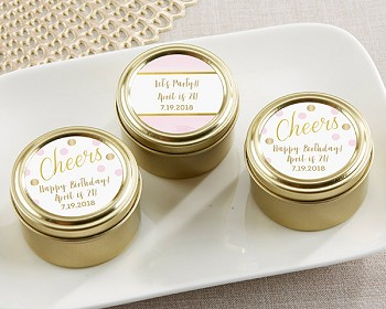 Personalized Gold Round Candy Tin - Birthday (Set of 12)